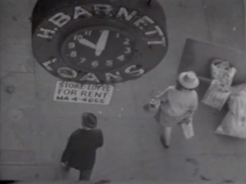 """H. Barnett Loans/For Rent - Still from video """"Atlantic in Brooklyn,"""" 1971-72. Collection of the artist."""
