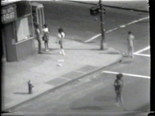 """Prostitutes Working the Corner - Still from video """"Atlantic in Brooklyn,"""" 1971-72. Collection of the artist."""