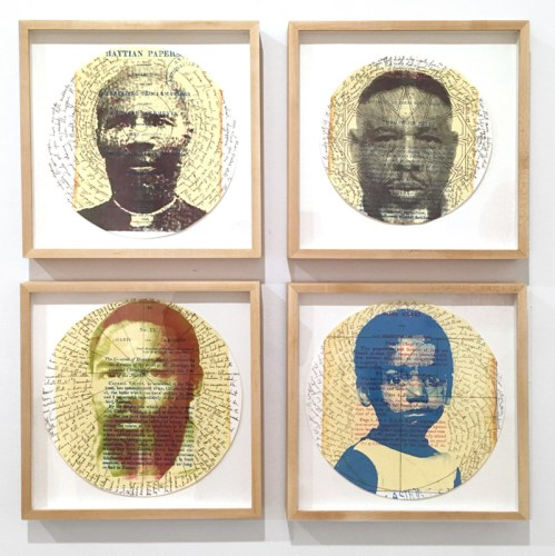 "Christophe Thompson - Four excerpts from ""Chess Match,"" 2017, Mixed media on paper, dimensions range from 9 to 10.5 inches in diameter   This work includes Four Excerpts from ""Chess Match,"" a multi-layered, autobiographical narrative about the rise of a Haitian slave becoming the only monarch in the Western Hemisphere, the generational challenges his descendants faced in the Bahamas, and their attempts to learn from the mistakes of the past, but ultimately it centers on the relationship between a father and son."