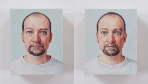 "Jim Torok - ""3D Self Portrait,"" Diptych, 2004, Oil on polymer resin, 2.5 x 1.5  x 1 1/8 inches (each panel)"