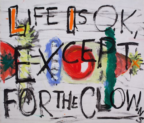 Life is OK, Except for the Clowns - 2010, Acrylic on panel, 36 x 38 inches