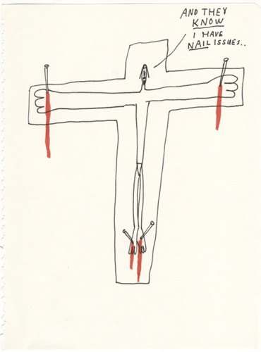 Nail Issues - 2013, Ink and colored pencil on paper, 9.75 x 7.5 inches