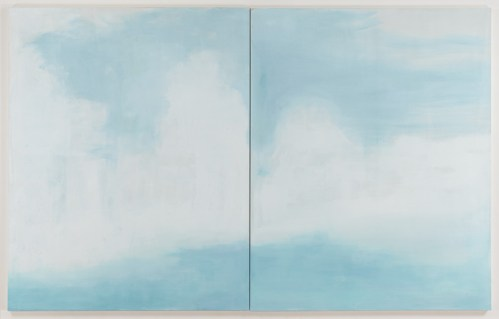 "Jim Torok - ""Sky Diptych,"" 2016, Acrylic on Canvas, 60.25 x  96 inches over all (60.25 x 48 inches each panel)"