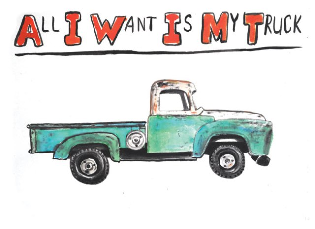 "TorokSummer2011InviteMyTruck - Jim Torok, ""All I Want Is My Truck,"" Ink on paper, 8.25 x 10.25 inches"