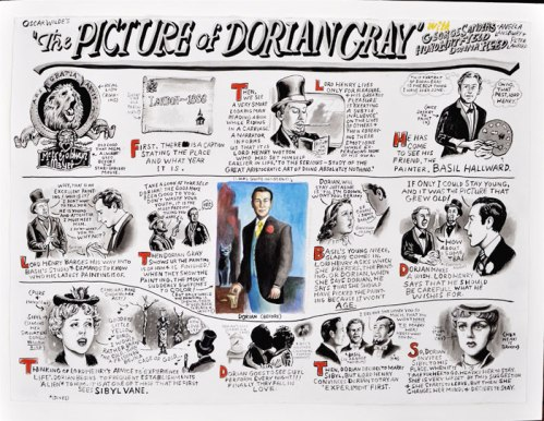 Jim Torok - The Picture of Dorian Grey (Triptych, part 1), 2013, Ink and watercolor on paper, 22.25 x 30 inches each.