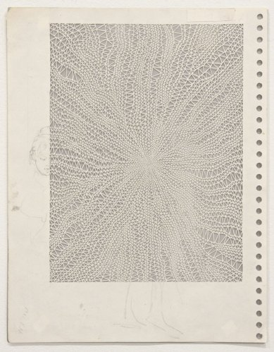 """Annie Vought - """"I suppose there comes a time when the befuddlement of old age looks very much like the wonder of childhood,"""" 2017, graphite on hand cut paper taken from the artist's late father's sketchbook, 11 x 8.5 inches"""