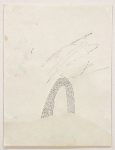 """Annie Vought - """"Hindsight doesn't make the view any clearer, except where one begins to get a sketchy outline of life by discovering what it isn't,"""" 2017, graphite on hand cut paper taken from the artist's late father's sketchbook, 13 3/8 x 10 inches"""