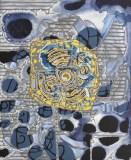 """Sarah Walker - """"Morpho II,"""" 2016, Acrylic on panel, 24 x 18 inches. Sold"""