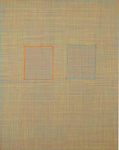 144 (The One You Call Gold) - 2006, Acrylic on Canvas with Relocated Inset Panels, 30 x 24 inches