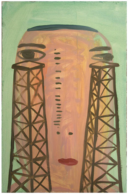 """Charles Yuen - """"Oil Head,"""" Oil on paper, 23 x 15 inches"""