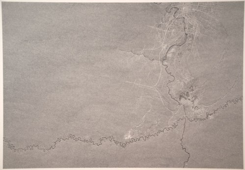 Juruá, Cuyahoga, Jackson - 2013, Graphite on paper mounted on panel, 50 x 70 inches