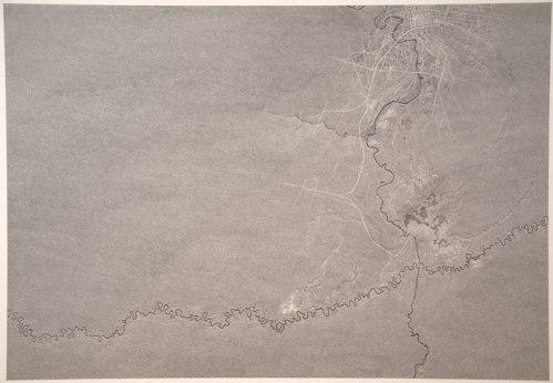 "Daniel Zeller - ""Juruá, Cuyahoga, Jackson,"" 2013, Graphite on paper mounted on panel, 50 x 70 inches"