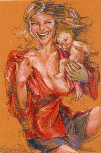 """New Mother No.9,"" 2008, Pastel and watercolor on tinted paper, 37x 22 inches"