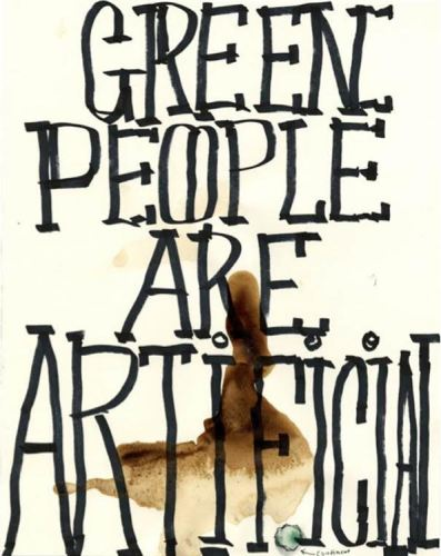 "William Pope.L - ""Green People are Artificial,"" 2010, Mixed media on paper, 11.5 x 9 inches. Courtesy Mitchell-Innes & Nash"