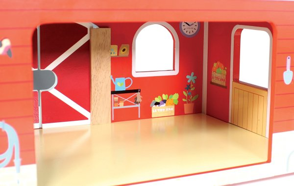 TV417-Red-Barn-Farm-Fence-Wooden-Play-Set-Inside