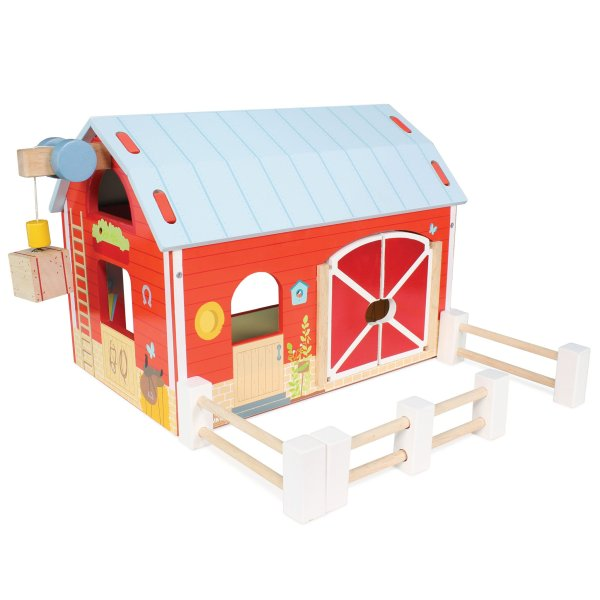 TV417-Red-Barn-Farm-Fence-Wooden-Play-Set