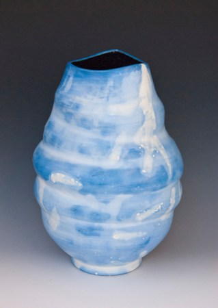 """Blue Ice"" Saggar-fired Porcelain Vessel"