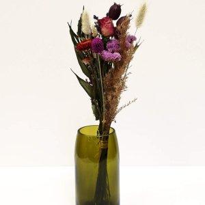 Bouquet de fleurs séchées et son vase recyclé