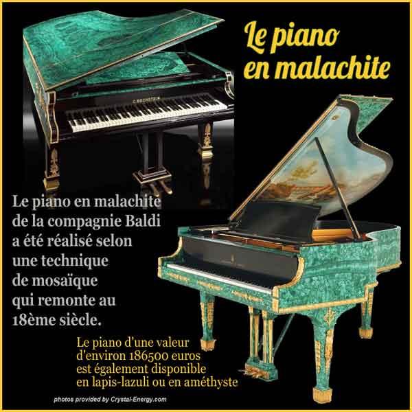 Piano Baldi En Pierre De Malachite Naturelle