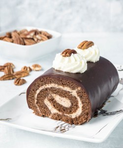 chocolate roll cake with pecan buttercream