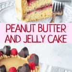 Peanut Butter and jelly cake slice, topped with chocolate hearts and raspberries
