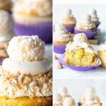 Coconut Macadamia Cupcakes topped with coconut truffle