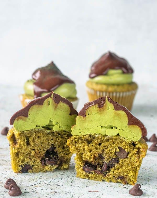 Matcha Chocolate Chip Cupcakes cut in half