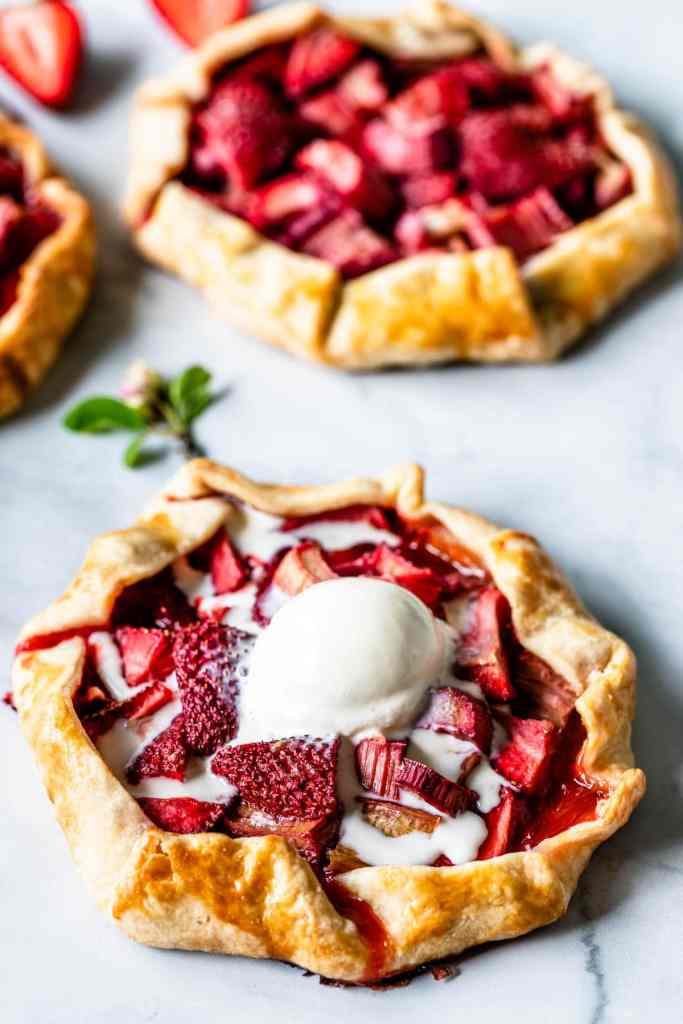 Strawberry Rhubarb Galette with ice cream