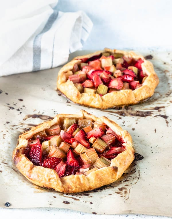 Strawberry Rhubarb Galettes with vanilla bean ice cream