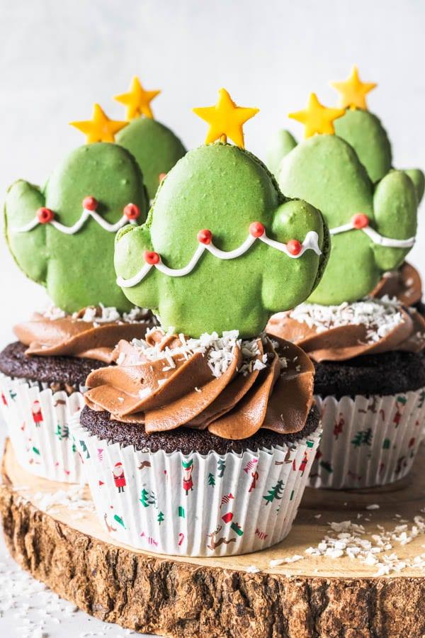 Chocolate Matcha Cupcakes with Matcha Cactus Macarons