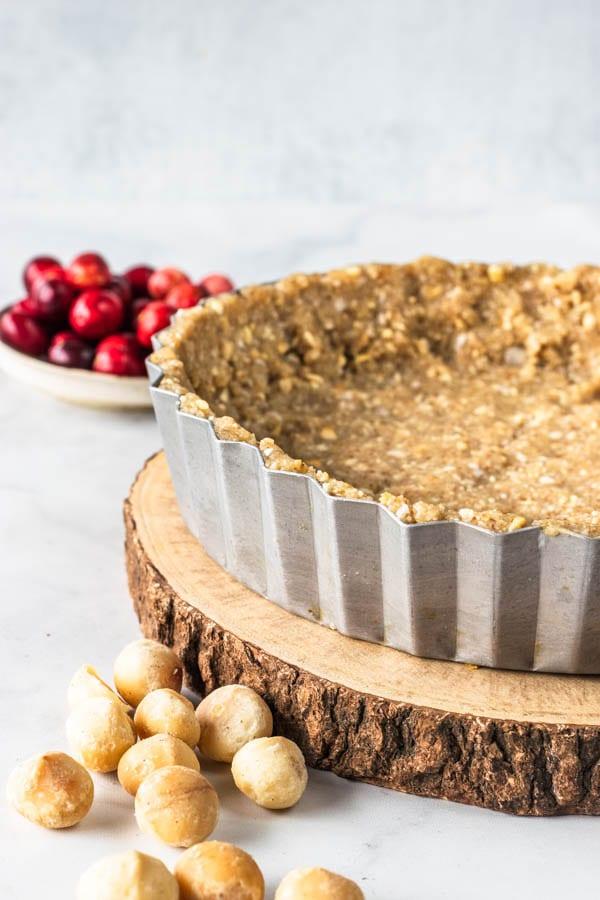 Orange Cranberry Vegan Pie with Macadamia Crust