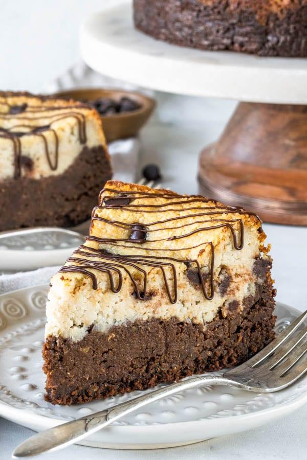 Vegan Brownie Chocolate Chip Cheesecake
