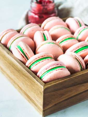 Strawberry Mint Macarons
