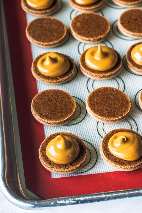 vegan biscoff macaron filling open macaron shells