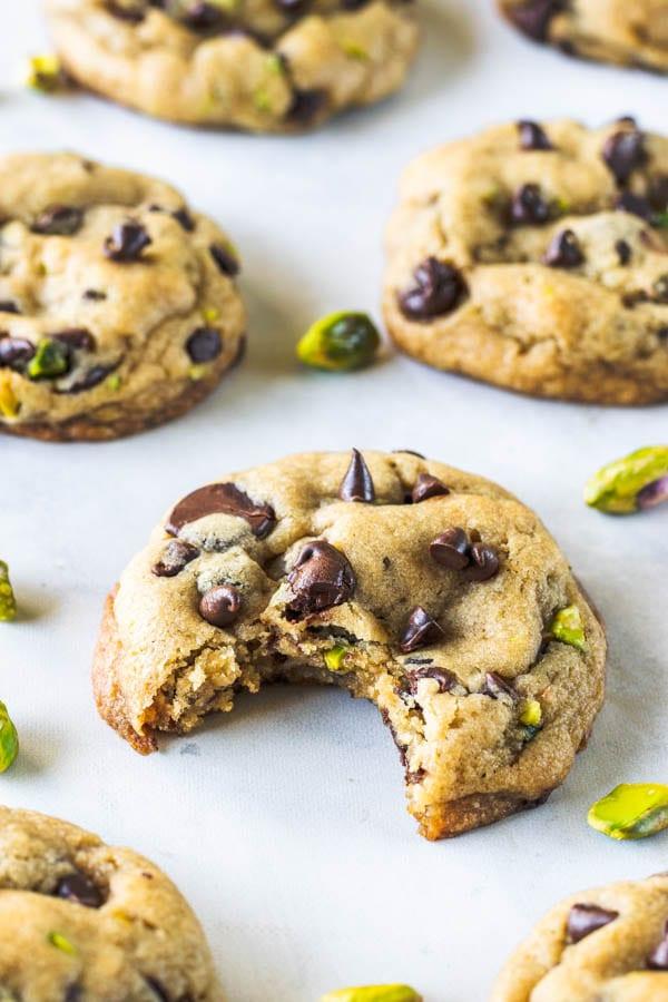 Vegan Chocolate Chip Cookies with Pistachios
