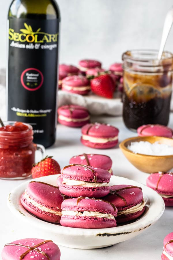 Balsamic Caramel and Strawberry Macarons