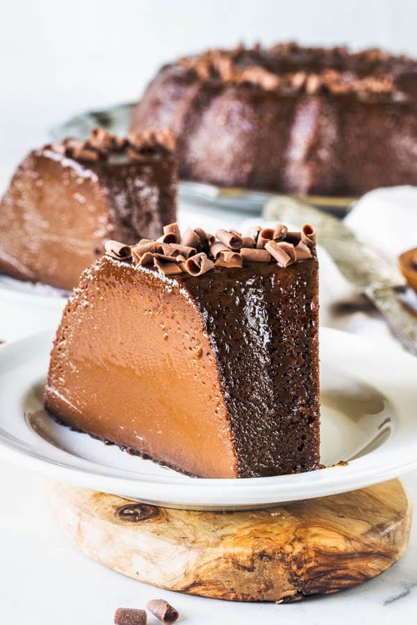 flan cake sliced