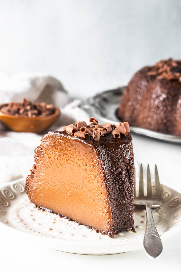 chocolate flan slice