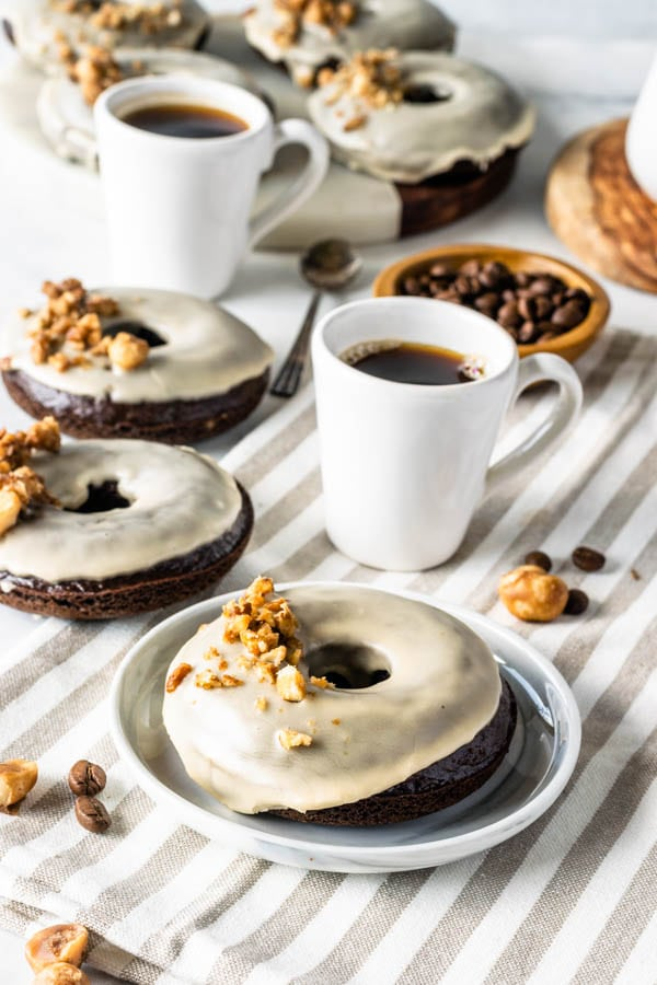 vegan donuts breakfast table with coffee