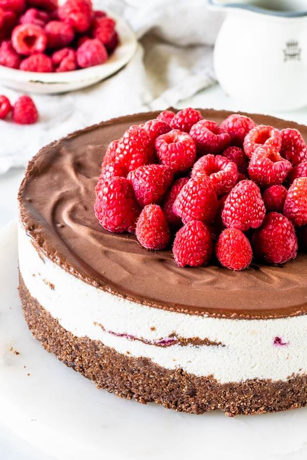 vegan fudge raspberry cheesecake
