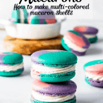 multi-colored macaron shells from one batch of macarons