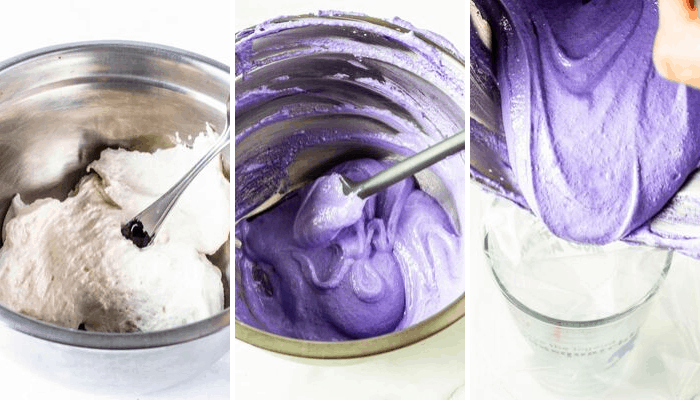 coloring macaron batter purple and transferring it to piping bag