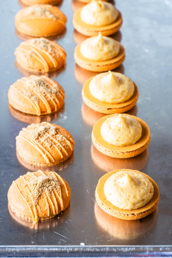 pumpkin cheesecake macarons filled with pumpkin cheesecake filling