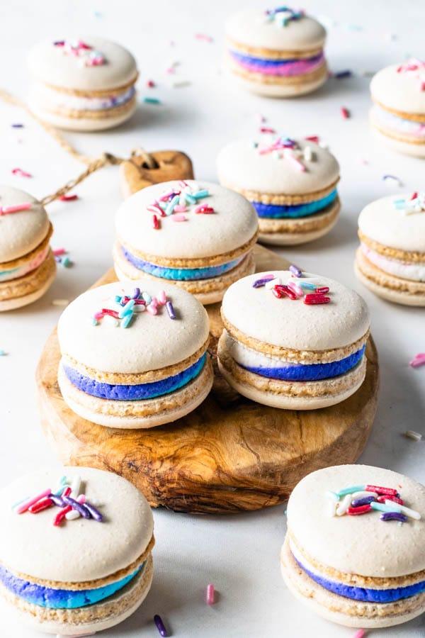Vegan Vanilla Macarons with Sprinkles