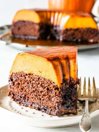 pumpkin flan with chocolate cake on the bottom and flan on top
