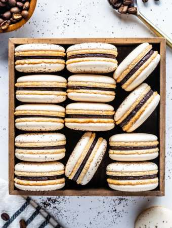 Vegan Coffee Macarons with Coffee Ganache Filling