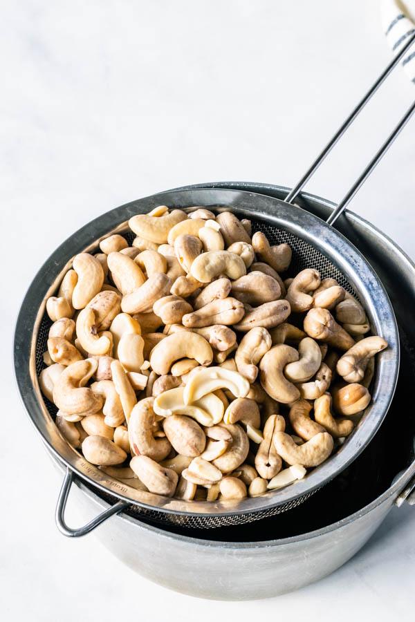 draining cashews