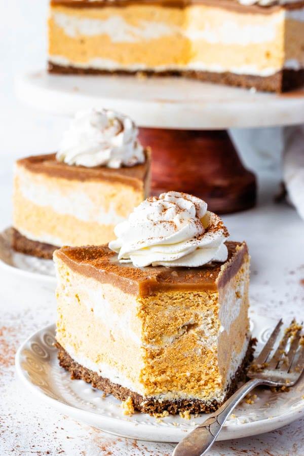 Vegan Pumpkin Cheesecake slice