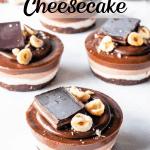 vegan hazelnut cheesecake topped with ganache