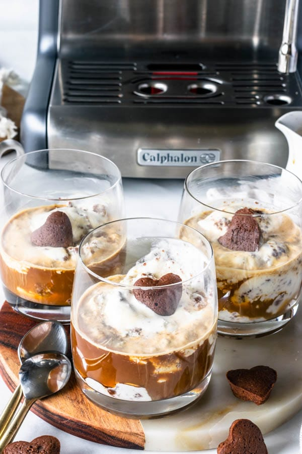 Affogato Recipe, brownie ice cream with an espresso shot